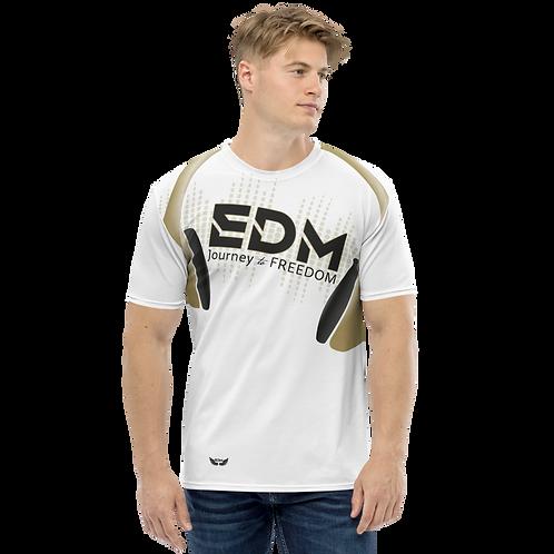 Men's T-shirt - EDM J to F Headphones - Gold/White