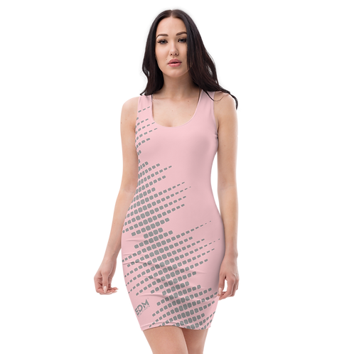 Body Con Dress - EDM J to F Sound Bars Grey - Baby Pink