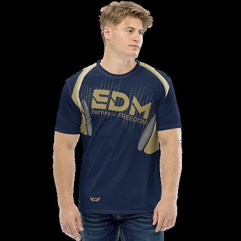 Men's T-shirt - EDM J to F Headphones - Gold/Navy