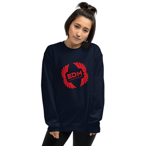 Womens Sweatshirt - EDM J to F Square Wings Logo - Red / Various