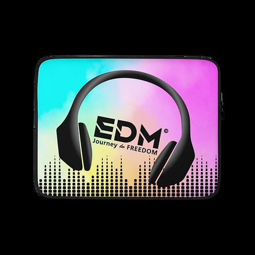 "Laptop Sleeve- 13"", 15"" - EDM J to F Headphone Sound Bars Black-Tye Dye Brighter"