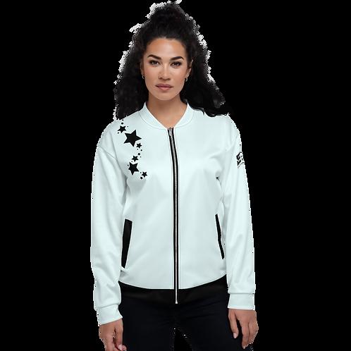 Women's Unisex Fit Bomber Jacket - EDM J to F - Ice Blue Black Star