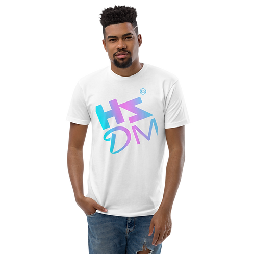 Mens Fitted T-shirt - HS Design & Music Equalizer Multi - White
