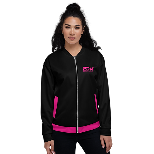 Women's Unisex Fit Bomber Jacket - EDM Journey to Freedom Black / Hot Pink