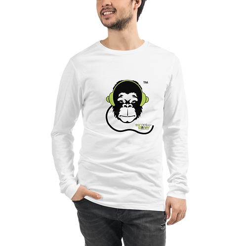Mens Long Sleeve T-shirt - GS Music Academy Ape - White