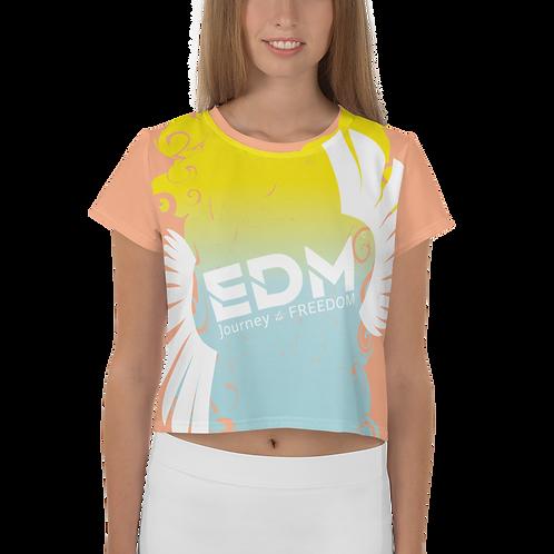 Women's Crop Tee - Gradient Yellow/Blue/Peach - EDM J to F Large Logo White