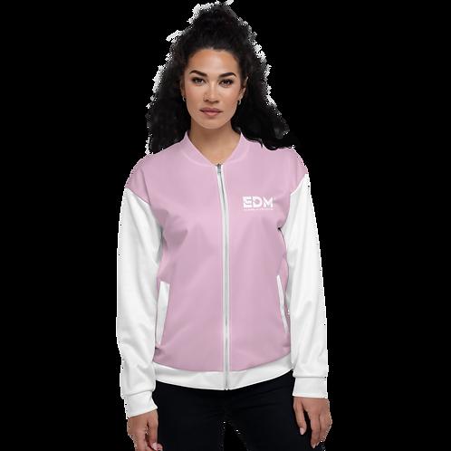 Womens Unisex Fit Bomber Jacket - EDM Journey to Freedom White / Pink