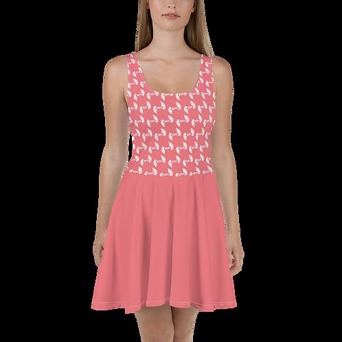Coral Skater Dress EDM Journey to Freedom Skirt Pattern Print - White