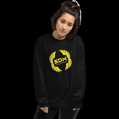 Womens Sweatshirt - EDM J to F Square Wings Logo - Yellow / Various