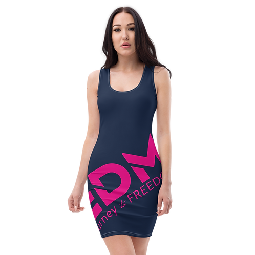 Body Con Dress - Navy EDM Journey to Freedom No wings Print - Hot Pink