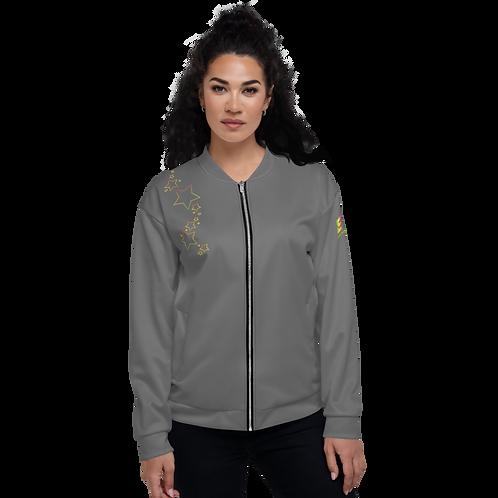 Womens Unisex Bomber Jacket - EDM J to F Rainbow Star - Charcoal