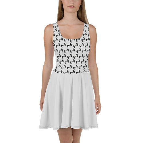 Ice Grey Skater Dress EDM Journey to Freedom Top Pattern Print - Black
