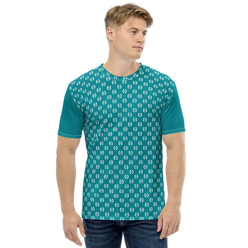 Men's T-shirt Teal - EDM Journey to Freedom Small Pattern Print - White