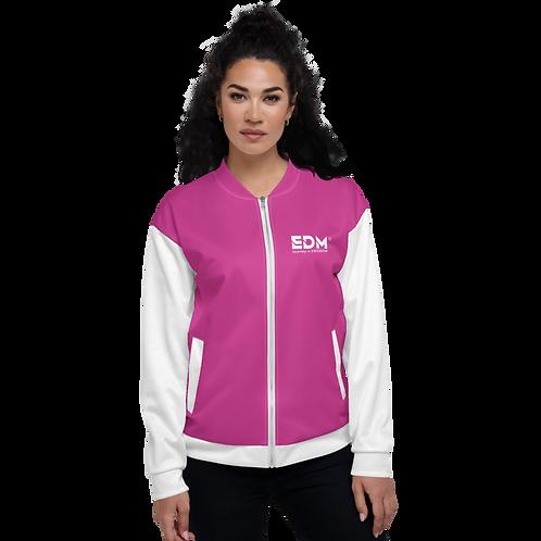 Womens Unisex Fit Bomber Jacket - EDM Journey to Freedom White / Dark Pink