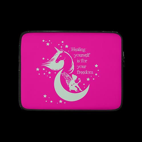 Laptop Case Zip Up - Unicorn Fairy Sage - Pink