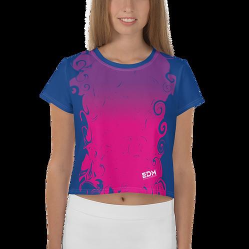 Women's Crop Tee - Gradient Hot Pink/Purple/Royal Blue -EDM J to F Logo White