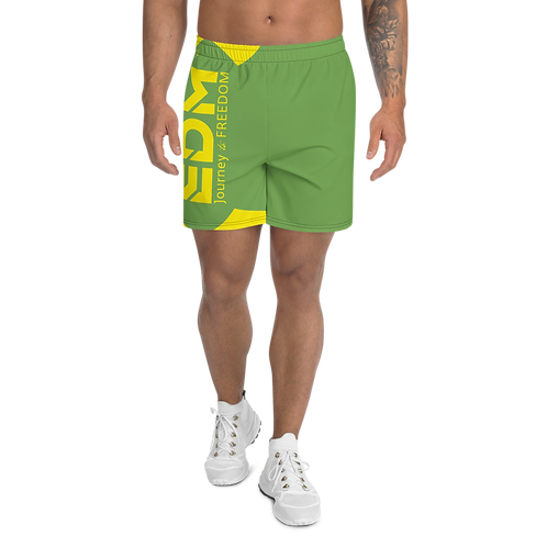 Men's Green Long Shorts - EDM Journey to Freedom Print - Yellow