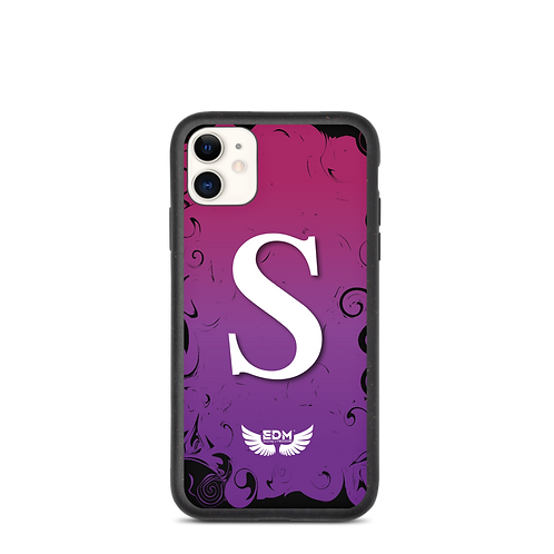 Biodegradable iPhone case-Purples /White-EDM J to F-Personalised Initial