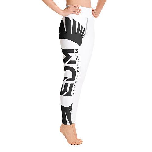 Women's Yoga Leggings White - EDM Journey to Freedom Print Style 2 - Black