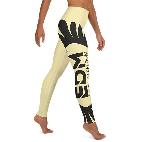 Women's Yoga Leggings Yellow - EDM Journey to Freedom Print Style 2 - Black