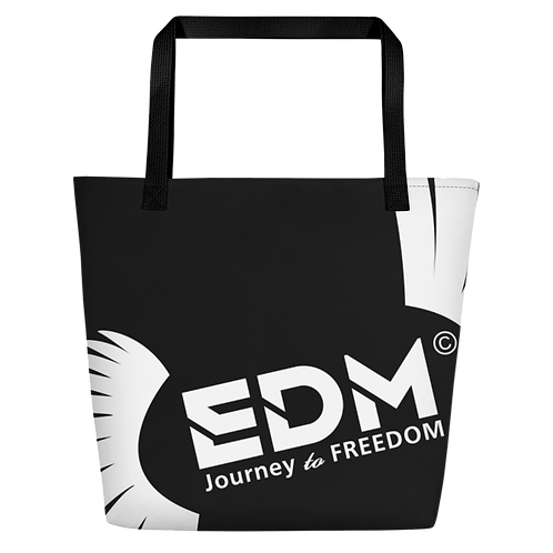 Beach Bag - Black EDM Journey to Freedom Print - White