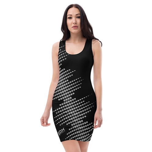 Body Con Dress - EDM J to F Sound Bars Grey - Black