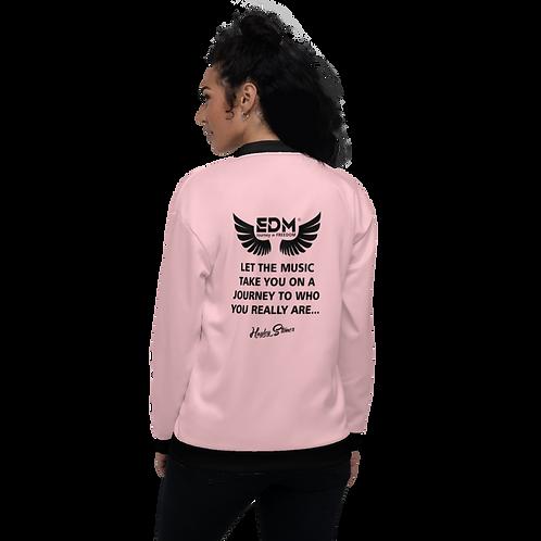 Women's Unisex Fit Bomber Jacket - EDM J to F Journey Slogan Black - Pink