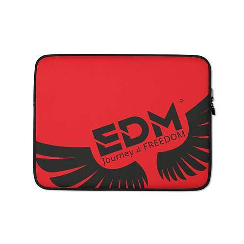 "Red Grey Laptop Sleeve - 13"", 15"" - EDM Journey to Freedom Print - Black"