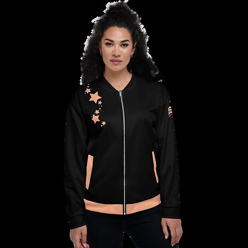 Women's Unisex Fit Bomber Jacket - EDM J to F - Black Peach Star