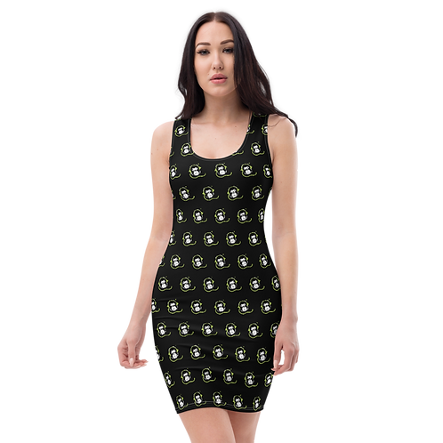 Women's Body Con Dress - GS Music Academy Ape DJ Pattern - Black