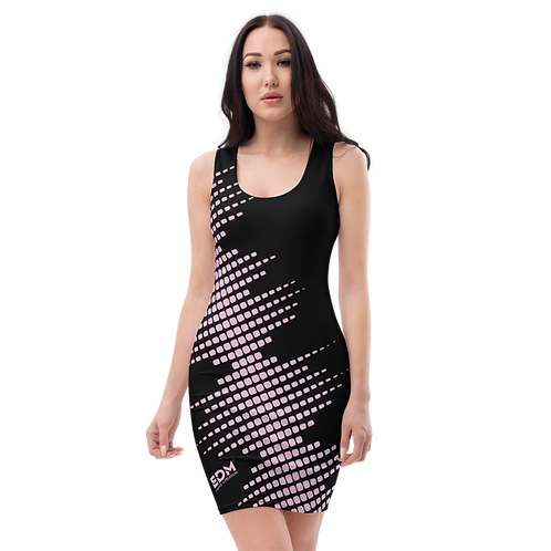 Body Con Dress - EDM J to F Sound Bars Pink - Black