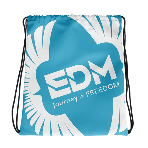 Blue Drawstring Bag - EDM Journey to Freedom Large Print - White
