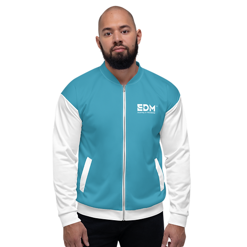 Mens Unisex Fit Bomber Jacket - EDM Journey to Freedom White / Teal Blue