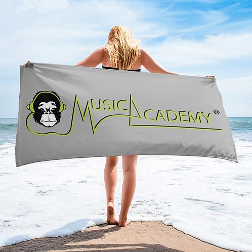 Beach / Bath Towel - GS Music Academy Ape / Text - Grey