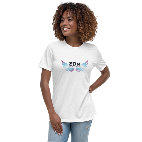 Women's White Relaxed T-Shirt - EDM Journey to Freedom Print - Multi