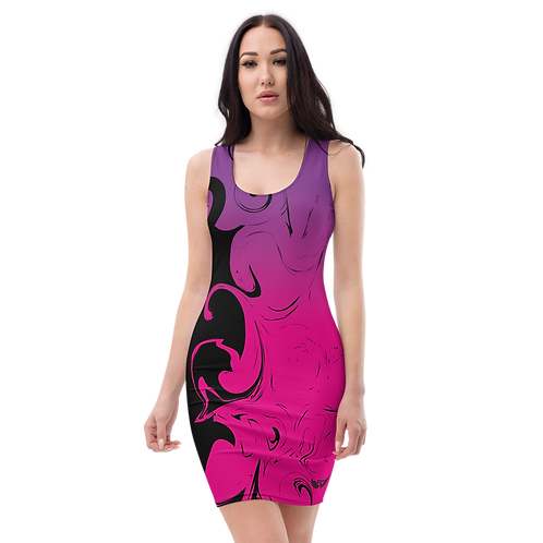 Body Con Dress - EDM J to F Purple/Pink Gradient Swirl - Black