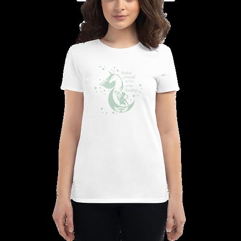 Women's short sleeve T-shirt - Unicorn Fairy Sage - White