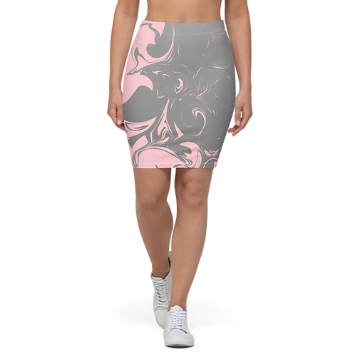 Women's Pencil Skirt-EDM J to F Grey Swirl - Baby Pink