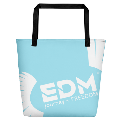 Beach Bag - Sky Blue EDM Journey to Freedom Print - White