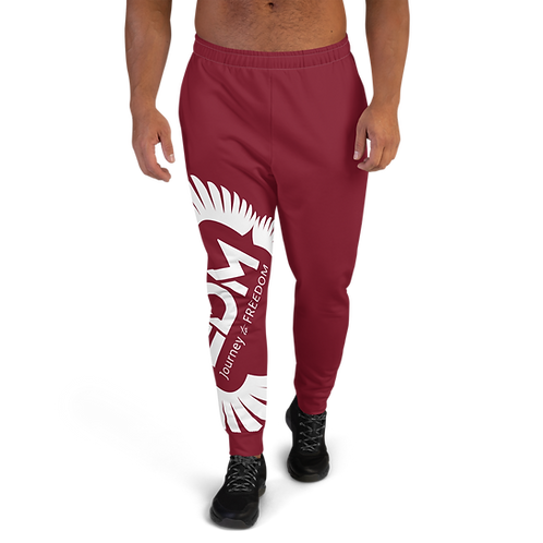 Burgundy Men's Joggers - EDM Journey to Freedom Print - White