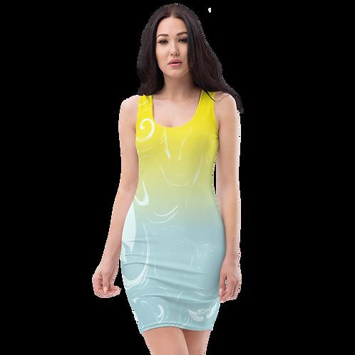 Body Con Dress - EDM J to F Yellow/Blue Gradient Swirl - Ice Blue