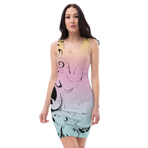 Body Con Dress - EDM J to F Pink/Blue/Yellow Gradient Swirl - Black