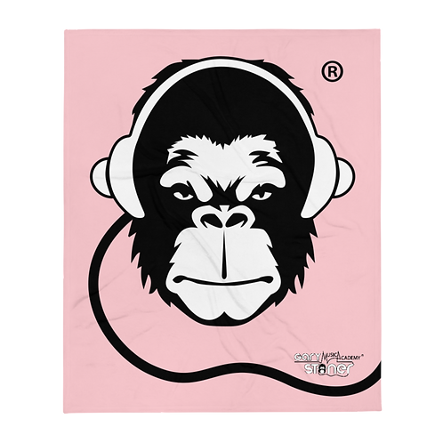 Fleece Throw Blanket - GS Music Academy Ape DJ - Pink