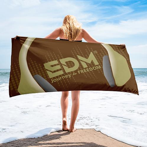 Beach / Bath Towel - EDM J to F Headphones Gold - Brown