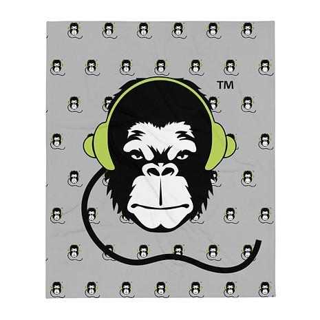 Fleece Blanket - GS Music Academy Ape DJ Pattern - Grey