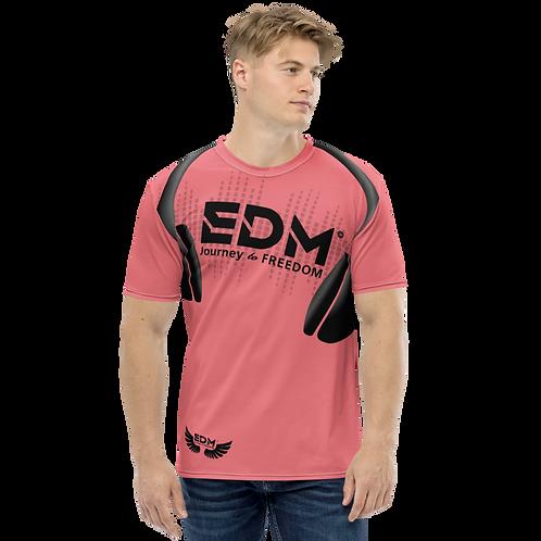 Men's T-shirt - EDM J to F Headphones Black - Coral