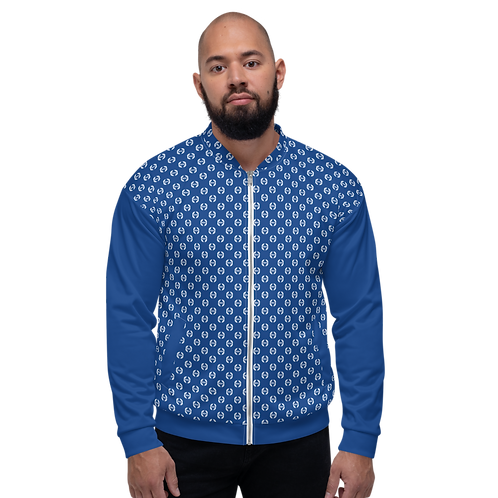 Men's Unisex Fit Bomber Jacket - EDM Journey to Freedom Pattern Royal Blue/White