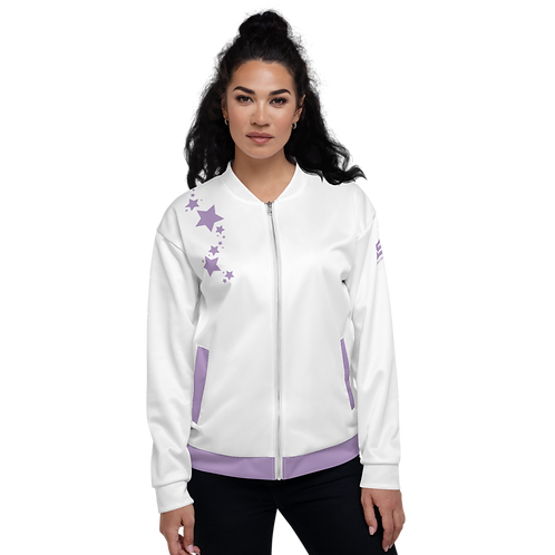 Women's Unisex Fit Bomber Jacket - EDM J to F - White Purple Star