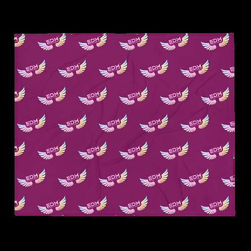 Fleece Throw Blanket - EDM Jt o F Logo Pattern Tye Dye - Plum