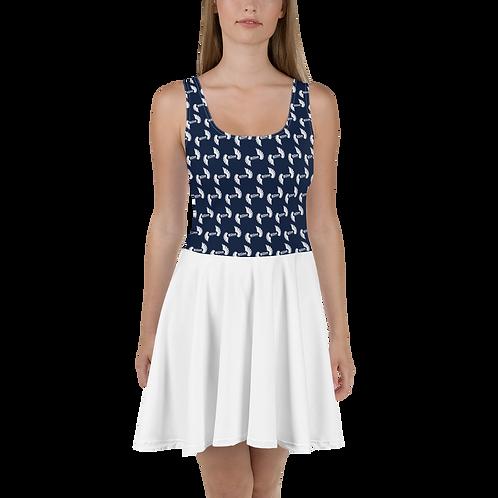 Navy / White Skater Dress EDM Journey to Freedom Top Pattern Print - White